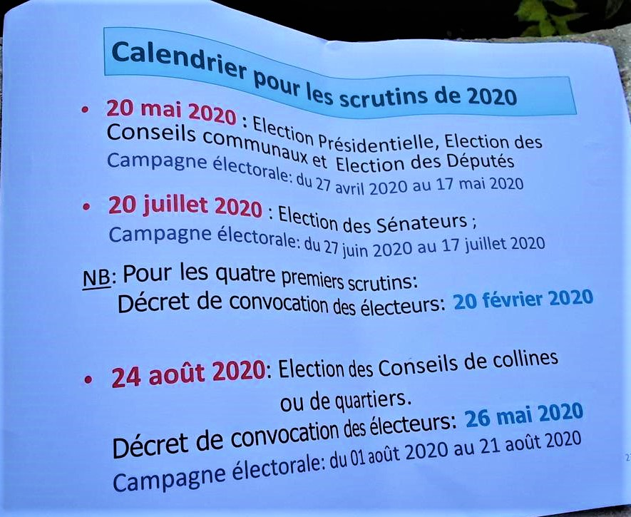 Calendrier électoral de 2020